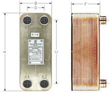 AIC Brazed Plate Heat Exchanger - 20 Plate - 3/4 Inch NPT Connection - LA14-20-DWA. Hydronic Heat applications Double Walled Flat Plate Heat Exchanger Hydronic Heat applications Dimensions