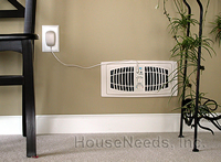 Airflow Breeze Air Movement Booster Almond Color 4 inch by 10 inch - 1000-0001 Insalled on a wall near a power outlet