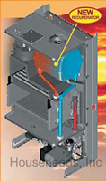 Biasi Riva Plus Condensing Wall Hung Boiler - Heat Only - 116,000 BTU - Liquid Natural - RI-NAT PLUS Inside View