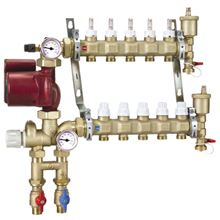 Caleffi Manifold Mixing Station for 3/8 inch Pex With 4 Ports and Grundfos UPS-15-58 Pump - 1725D1A-38