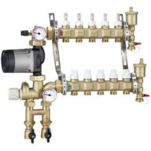 Caleffi Manifold Mixing Station for 3/8 inch Pex With 13 Ports and Grundfos Alpha 25-55U Pump - 1725O1AHE-38