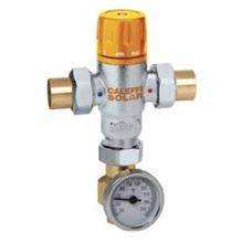 Caleffi Solar 3-Way Thermostatic Mixing Valve - 3/4 Inch - Sweat Unions - With Gauge and Adapter - Lead Free - 252158A