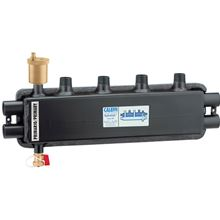 Caleffi 559921A HydroLink Hydraulic Separator Manifold - 2 Zones on Top and  1 Zone on the End.  Caleffi Hydrolink combining a hydraulic separator with a distribution manifold
