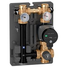 Caleffi 166600A HydroMixer Pump with Thermostatic Fixed Temperature Mixing Valve and Insulation Dual Line and UPS15-58 Pump on Right Side - 166600A