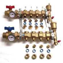 Caleffi 3/8 inch PEX 3 Port Manifold Set with Sight Flow - Pre-Assembled - Includes 3/8 inch Pex Adapters - 6686C5S1A-38