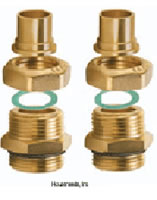 Caleffi Dual-line 3/4 inch Sweat Fitting Kit includes 4-1 inch male adaptors, 4 nuts, 4-3/4 inch sweat tail and 4 washers - NA26759