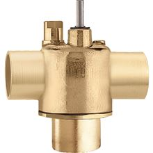 Caleffi Three Way Diverting Valve with 3/4 inch Sweat Connnections - Flows up to 20 GPM - Low Lead for Potable Water - Z307537