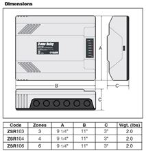 Caleffi ZSR106 Switching Relays. Caleffi Circulator Pump Relay ZSR106 for up to 6 Zones Dimensions