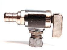 Dahl 1/2 inch PEX to 3/8 inch OD Compresion 90 degree with Valve - Chrome - 211-PX3-31