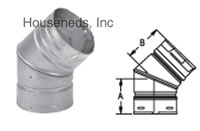 Duravent Pellet Vent Pipe 45 Degree Elbow 3045B