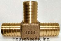 Brass Fitting Tee 1 inch insert by 1 inch insert by 1 inch insert - I13-022