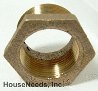 Brass Fitting Hex Bushing 1 1/2 inch male by 1 1/4 inch female - B74-224