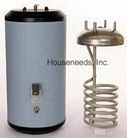 Heat-Flo 316 Stainless Steel Indirect Water Heater Tank with Single Heat Exchanger and Electric Back-up - 60 Gallon - HF-60E