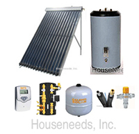 Solar Hot Water Heating System - 1 to 2 Person Home with 40 Gallon Indirect Storage Tank