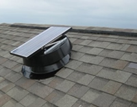 HNSF Solar Powered Attic Fan - 20 WATT - HNSF20W installed on a roof near the top