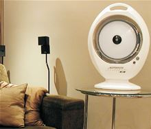 Joape Misting Evaporative Cooling Fan - 353 CFM in 110/220V - TWISTER on a table for inside installation