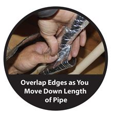 Low-e Simple Solution Pipe Wrap Kit - Foil/Foil - 12.5 Square Feet - SSR-PWKFF Installing over a pipe