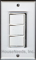 Qmark AD628A Triple Rocker Wall Controls for Whole House Fans, Bath Fans, Kitchen Exhuast Fans