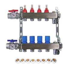 Mr. Pex Stainless Steel Manifold - 10 Port for 1/2 inch Pex - 325010012 with Optional Accessories - Example of Install