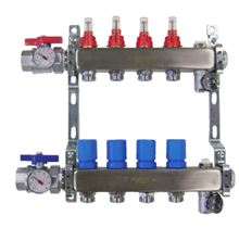 Mr. Pex Stainless Steel Manifold Body Only - 4 Ports for PEX Tubing with Balancing and Flow Meters - 3250400