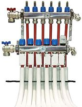 Mr. Pex Stainless Steel Manifold - 9 Ports for 3/4 inch Aluminum Pex Tube - 323050038AL with Optional Accessories - Example of Install