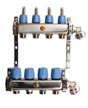 Mr. Pex Stainless Steel Manifold - 4 Port, for 3/8 inch Pex Tubing with Balancing and Flow Meters, End Caps for 1 inch Copper and 3/8 Inch PEX Adapters Included - 323040038