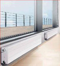 Myson RCV21-2600 Steel Panel Radiator Baseboard Heater RCV21 2600 7 7/8 inch by 103 Inches with 5842 Btu installed in a room