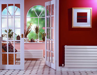Myson 3H11120-VN Decor Myson Hydronic Radiator Panel in a Red Room