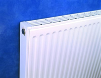 Myson 21G SX70100-VN Select Series Panel Radiator Installed on Blue Wall