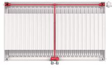 Myson T6 IVC Series T622-4-06 Top View Double Panel Hydronic Radiator Flow Example