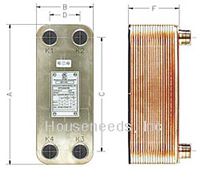 OKO Brazed Plate Heat Exchanger - 10 Plate - 1 Inch NPT Connection - OKO 5x12-10 Dimensions of flat plate exchanger