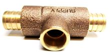 Pex to PEX Monoflow Tee - 3/4 by 3/4 PEX by 1/2 Inch Copper MFPS3412 showing the sweat connection side