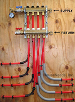 1/2 PEX 5 Ports Mr PEX Basic Manifold with Balancing and Flow Meters #105 and 205 with optional accessories such as a pressure test kit