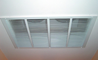 Tamarack Ghost Whole House Fan with Remote - R38 Insulation - White Grill Included - TTi-HV3400 how the grill looks in a typical house