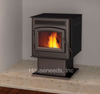 Timberwolf Pellet Stove with Pedestal Base and Black Door TPS35