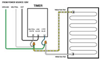 WarmlyYours TempZone 7-day Programmable Timer - 15 Amp - T1033-A timer wiring example