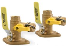 Webstone 3/4 inch Brass Shut Off Flange Set With Ball Valves and Drain, 4 inch Lever Handles and Sweat Connections - 50413