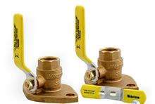 Webstone 1 1/4 inch Brass Shut Off Flange Set With Ball Valves, 4 inch Lever Handles and Threaded Connections - 40405