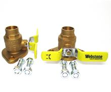 Webstone 1 inch Brass Shut Off Flange Set With Ball Valves, T Handles and Sweat Connections - 50404