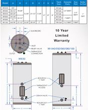 Westinghouse WI060 Indirect Hot Water Tanks. Single Heat Exchanger with 60 Gallons Techs and Specs