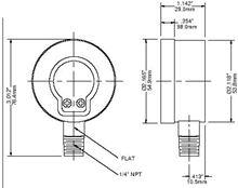 Winters Instruments Pressure Gauge - 100psi. Pressure gauge 1/4 - PEM202 - E-202 Dimensions