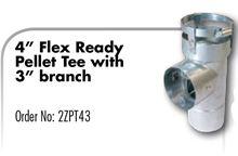 Z Flex Z Vent Pellet Stove 4 inch Flex Ready Pellet Tee with 3 inch Branch - 2ZPT43