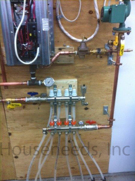 This is an example of a Residential Electric Boiler Install with a PEX Manifold and 4 Loops