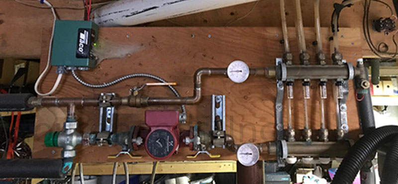 Taco Mixing Valve setup with a Grundfos pump to a 4 Port PEX Radiant Manifold