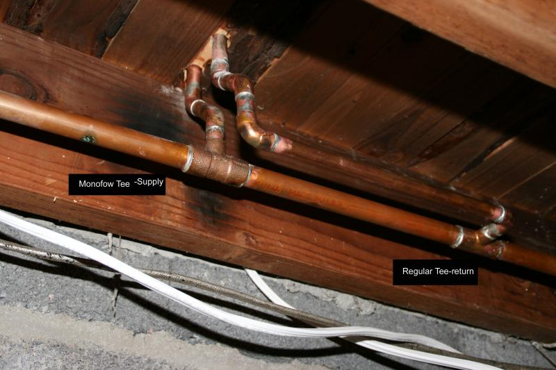 Myson Hydronic Radiator and Convector Piping Examples with a Mono Flow Tee